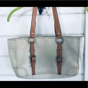 COACH Ladies White Leather Handbags.